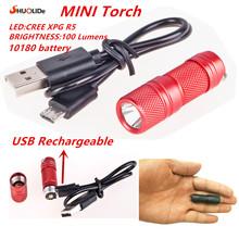 USB Rechargeable portable waterproof Light Aluminium Alloy super Mini Flashlight CREE XPG R5 Led Flashlight Torch Led keychain(China (Mainland))