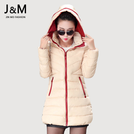 Plus Size Slim Women Coat Cotton-padded Autumn Winter Jacket 2015 Medium-long Down Parka Female Jacket Casual Hooded Ladies Coat(China (Mainland))
