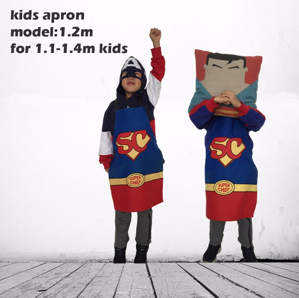 Twill Cotton Super Man Chef Apron for Kids or Children Buyer show get 5$ back(China (Mainland))