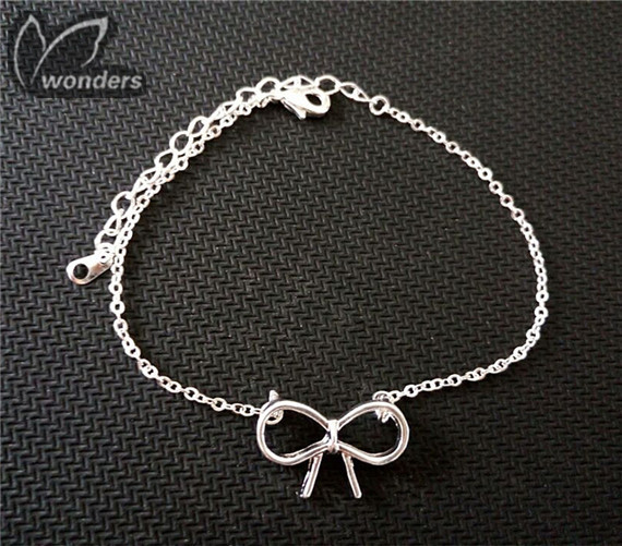 18K Gold Plated silver Bow Chain Bracelet for women<br><br>Aliexpress