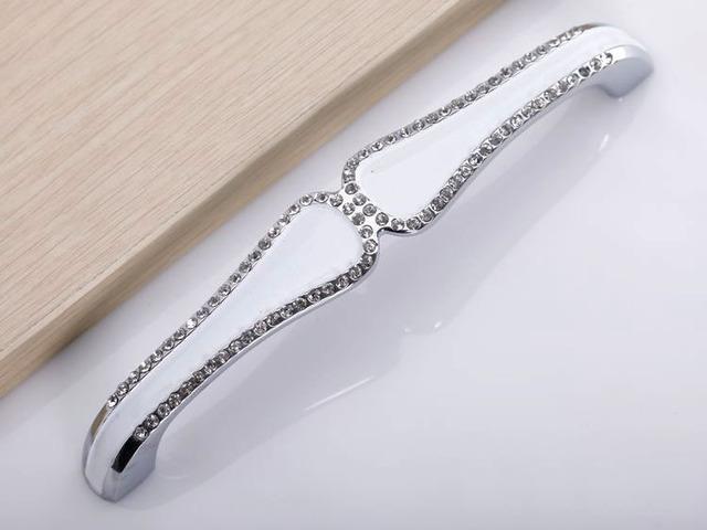 Child Room Crystal Handles Kitchen Cabinet Knobs  Drawer Pulls (C.C.:128mm,Length:145mm)