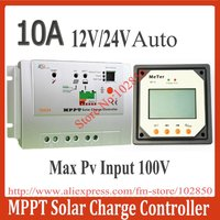 10A MPPT Solar Charge Controller Regulator Tracer1210 with LCD Remote Display Meter MT-5,12/24V Auto work,