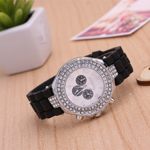 2015 Geneva brand new quartz watch casual fashion ladies watches Silicone strap diamond gift table