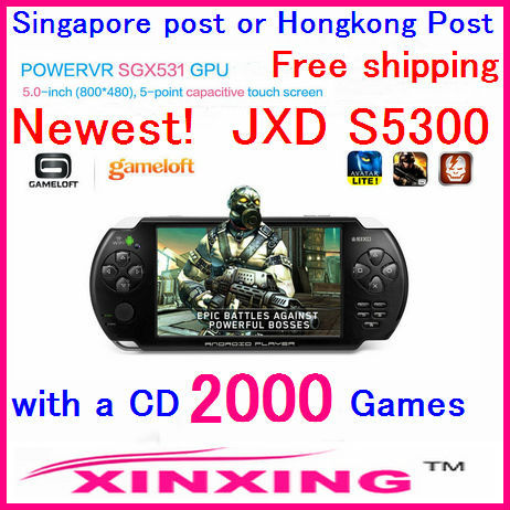 Singapore post or Hongkong post Free ship JXD S5300 5 inch touch screen Single Core HD Smart console game Pad Wi-Fi Direct fight