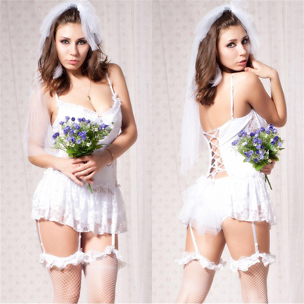 women sexy white wedding uniform female cute sexy night club white dress new temptation strao lace lingerie set sexy babydoll(China (Mainland))