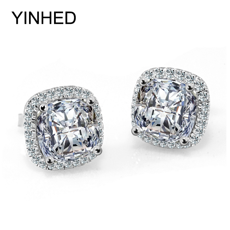 YINHED Princess Cut 4 Carat CZ Diamond Stud Earrings Solid 925 Sterling Silver Earrings For Women Wedding Jewelry ZE038(China (Mainland))