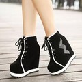 Affordable Platform Bootie Boot Black Outdoor Wedge High Heel Rhinestone Spring Fall Cheap Female Boots Shoes
