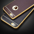 Luxury PU Leather Litchi Grain Bling Plating Frame Phone Cases For iPhone 5S 5SE 6 6S
