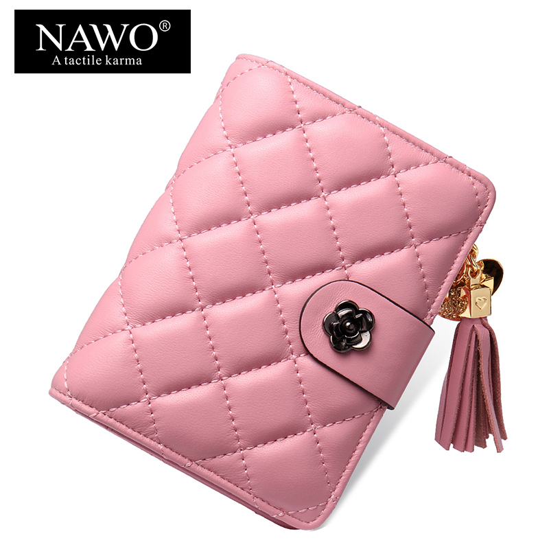 NAWO Plaid Sheepskin Genuine Leather Women Wallets Mini Coin Money Purse Tassel Pink Diamond Lettice Ladies Short Wallets Female(China (Mainland))
