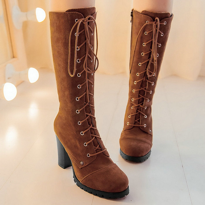 Knee High Boots 2015 New Women Knight Thick High Heels Boots for Women Lace up Winter Shoes Platform Autumn Boots