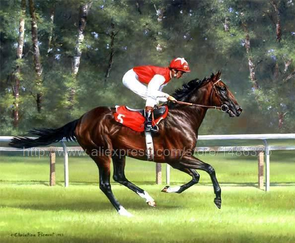 Large Color Hand Painted Animal Race Horse Decor Oil Painting Canvas Hotel Western Huge Picture Painting Stairwell Decor(China (Mainland))