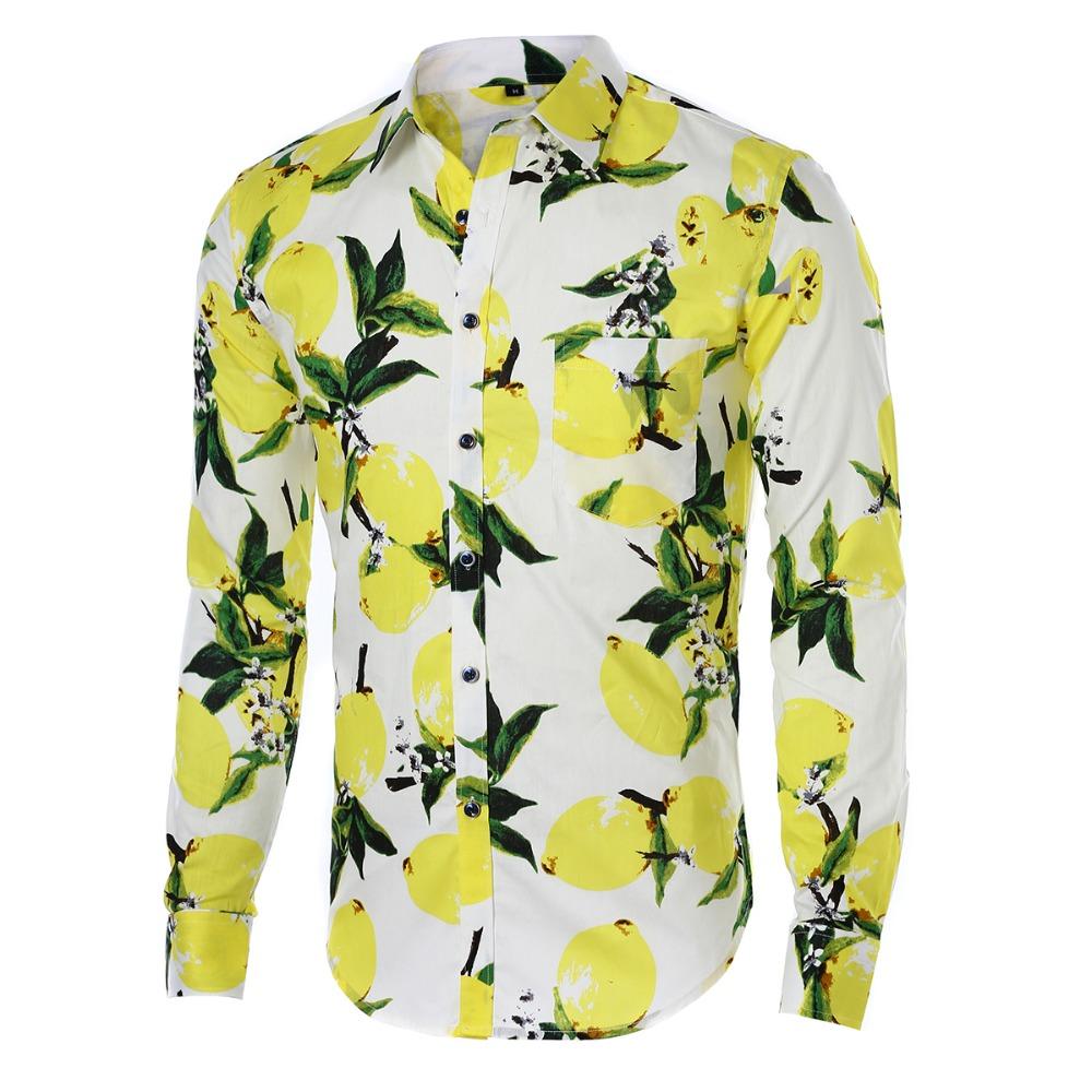 Floral print men shirts cotton long sleeve casual shirts for Flower print mens shirt