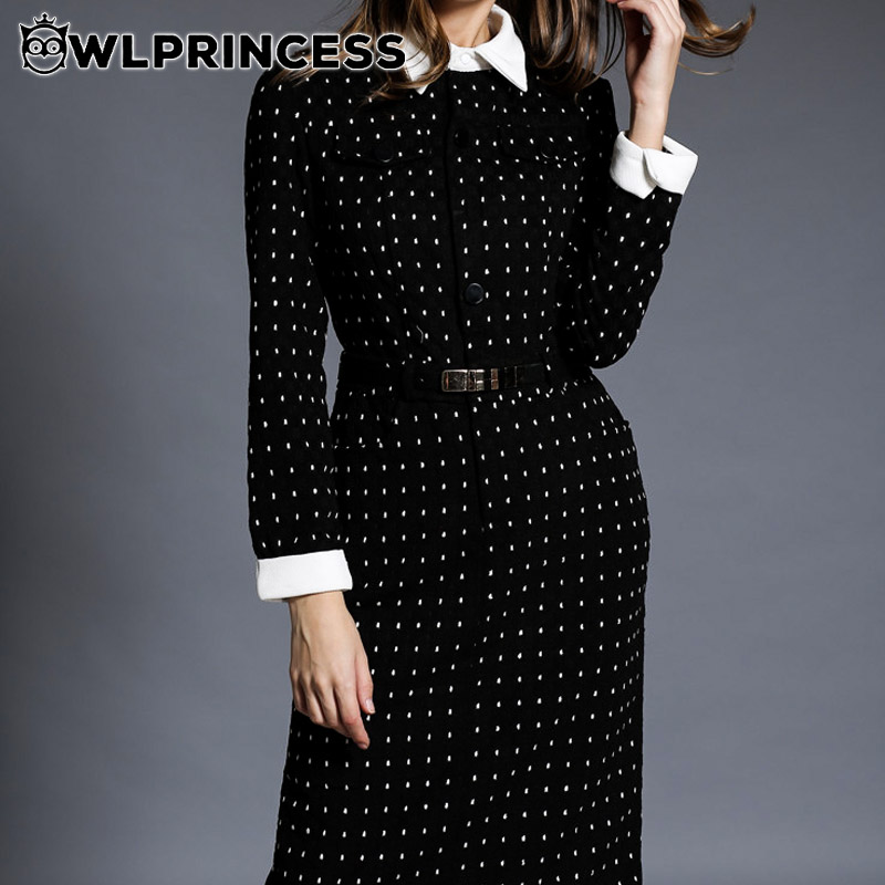 Owlprincesss Dress 2015 Fashion Retro Dot One-piece Long Sleeve Turn Down Collar Casual Business Women Vestido Elegant DressОдежда и ак�е��уары<br><br><br>Aliexpress
