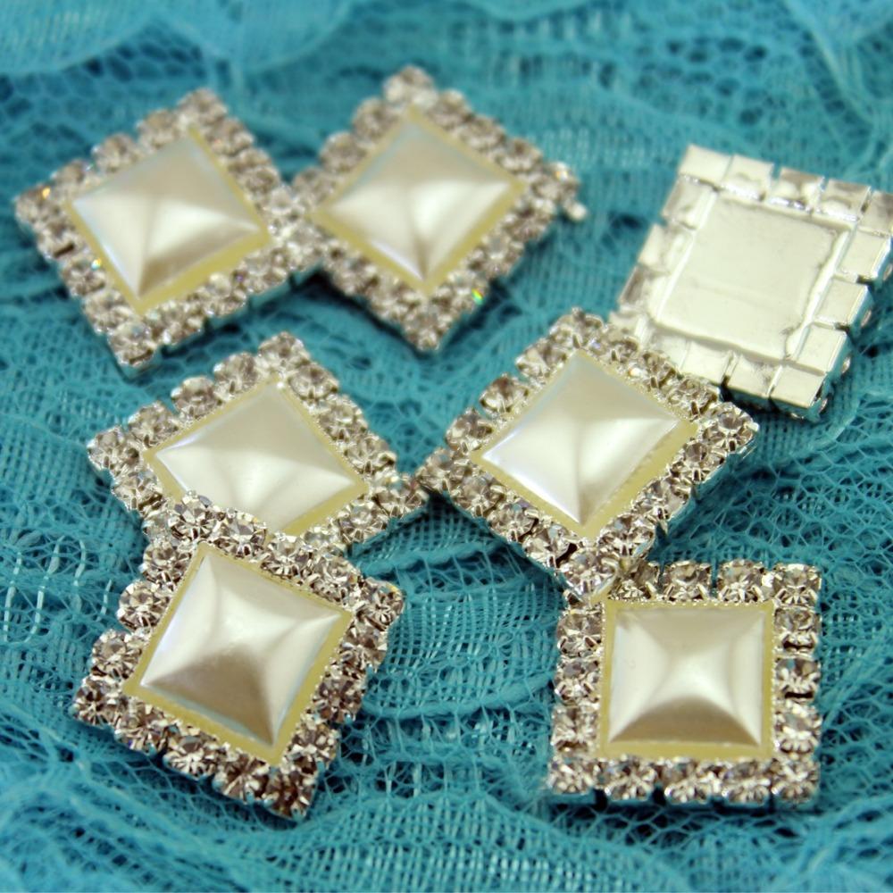 Free Shipping 10Pcs 18x18mm Square Rhinestone Pearl Buckles Wedding Embellishment Buttons Flatback(China (Mainland))