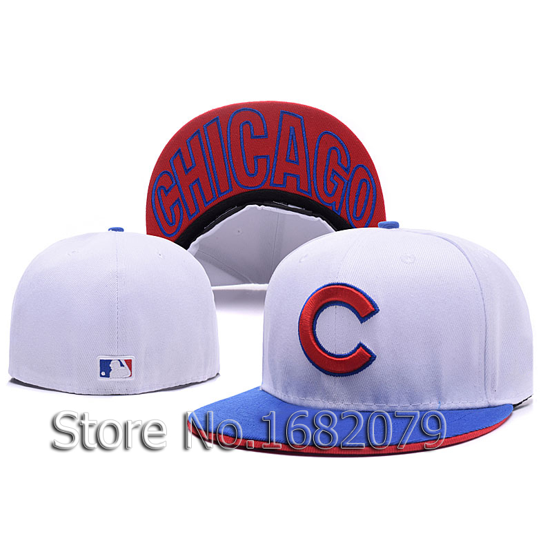 Mens Chicago Cubs sport team fitted cap two tone white/blue full closed design baseball hatОдежда и ак�е��уары<br><br><br>Aliexpress