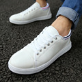 Quality 2016 Summer White Men Shoes Leather Flat Shoes for men Low top Lace up Chaussures