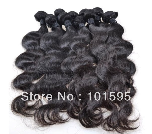 """Retail Brazilian virgin hair extensions 100% unprocessed human Body wave 12""""-30"""" natural color DHL Free shipping"""