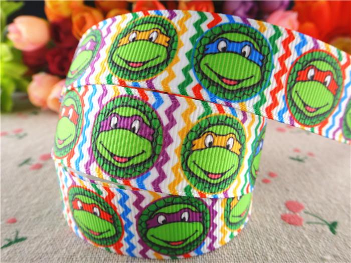 7/8'' (22mm) ninja turtle printed grosgrain ribbons cartoon ribbon hair accessories 50 yards WQ14100515 - Anne Store store