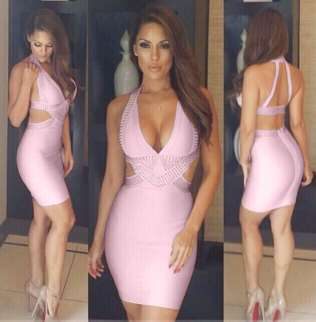 Sexy Dresses Fashion 2014 Bodycon Beautiful Cystal Embellished Sexy Open Back Waist Cut Out Blush Celebrity Bandage DressОдежда и ак�е��уары<br><br><br>Aliexpress
