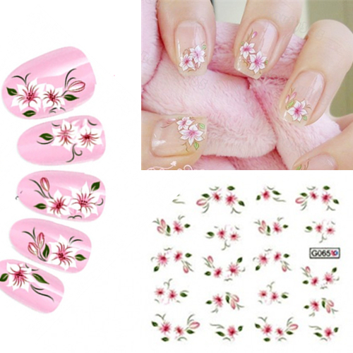 water stickers for nails mix color DIY 3d nail art water decals stickers for nail 10 styles mix decoration nails art(China (Mainland))