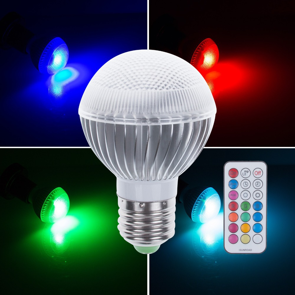 E27 5W RGB LED Globe Spot Light Bulb With Timer Function With 21 Key IR Remote Controller For Party Home Lighting(China (Mainland))