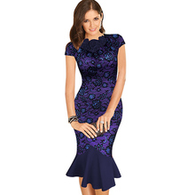 Womens Elegant Vintage Celebrity Flower Fitted Tunic Stretch Wear To Work Bodycon Cocktail Party Mermaid Pencil Sheath Dress 988(China (Mainland))