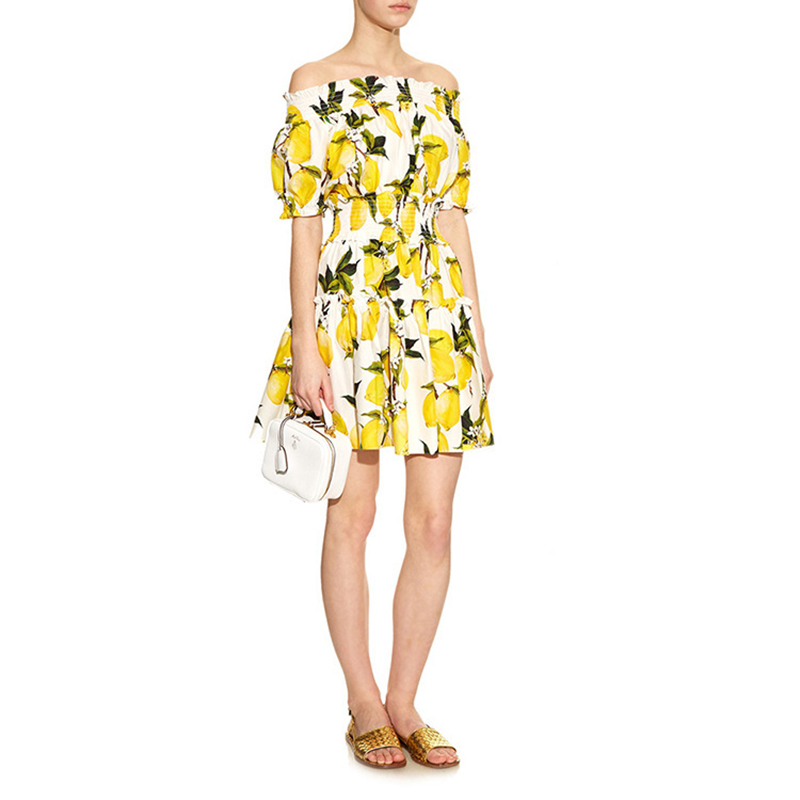 Slash neck Women Dress Vestidos Lemon Floral Lantern Sleeve Sexy Summer Dress 2016 Off the Shoulder High Waist Women Dresses S-L(China (Mainland))