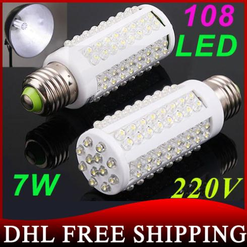 300pcs/lot LED bulb E27 Led Light 220V White Warm White light LED Lamp 108 Spot Light Energy Saving Lamps High Bright 360 Degree(China (Mainland))