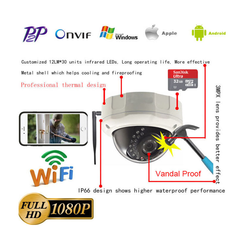 Free Shipping 1920X1080 WiFi 1080P 2Megapixel HD IP Camera Wireless  32TF Card  Onvif IR P2P Android ISO Dome Camera Outdoor  <br><br>Aliexpress