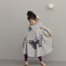 Borboleta moda impresso manga comprida tornozelo-comprimento vestido de venda quente meninas vestido de verão para crianças dos miúdos roupas de transporte da gota