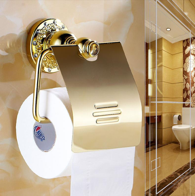 new luxury Wall Mounted crystal & brass gold toilet paper holder roll tissue box Bathroom Accessories Three colors choice 6210(China (Mainland))