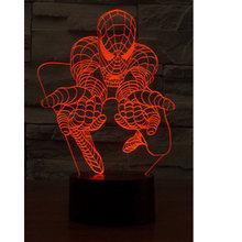 Novo 3D Led 26 cm Atmosfera Criativa Candeeiro de Mesa Luzes de Brinquedo Batman Spiderman Ironman 7 Gradiente de cor Visual Perspectiva Lnt_002(China)