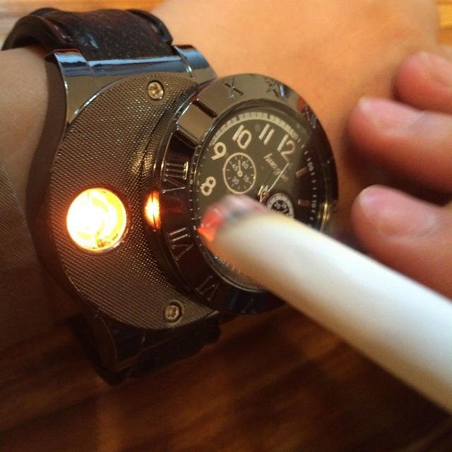 New 2016 Military USB Charging sports Lighter Watch Men's Casual Quartz Wristwatches with Windproof Flameless Cigarette Lighter