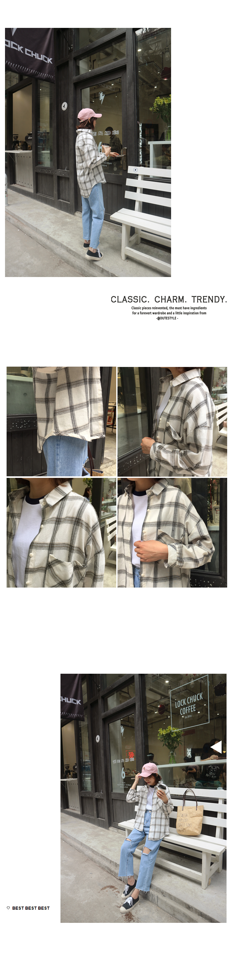 Mihoshop Ulzzang Korean Women Fashion Clothing all-match Lapel loose long sleeve shirt Plaid Shirts Blouses 582 Free Shipping