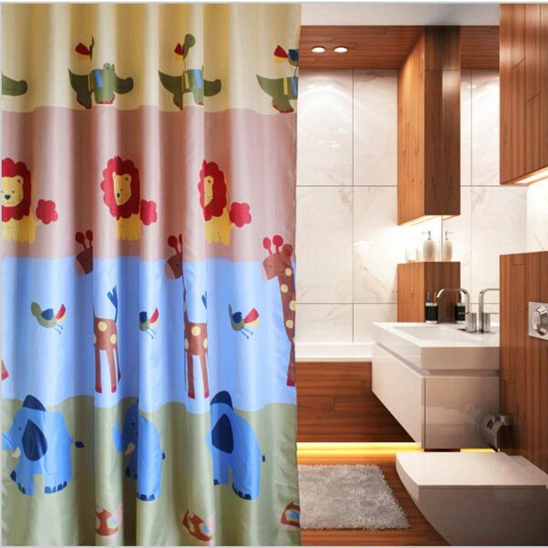 2016 Bathroom Anime Jungle Cartoon Shower Curtain Waterproof Mouldproof Thickening Printed Clear Shower Curtain 200CM With Hooks(China (Mainland))