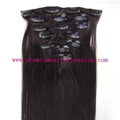 "16"" 18"" 20"" 22"" 24"" 26"" 7pcs human remy hair clip in extensions clip on hair #1B natural black 70g/set 5set/lot"