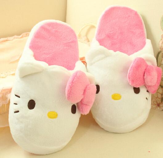 Super cute 1 pair cartoon plush princess girl hello kitty winter warm soft flat home floor slippers children creative toy gift