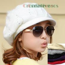 New Chic Brim Visor Rhinestone Women's Girl Double-deck Winter Baggy Snow Soft Warm Wool Knit Hat Beanie Fox Fur Pom-Pom(China (Mainland))