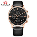 AMUDA Chronograph Black Genuine Leather Strap Gold Business Watch Quartz Luxury Sport Watch Men Brand Watch