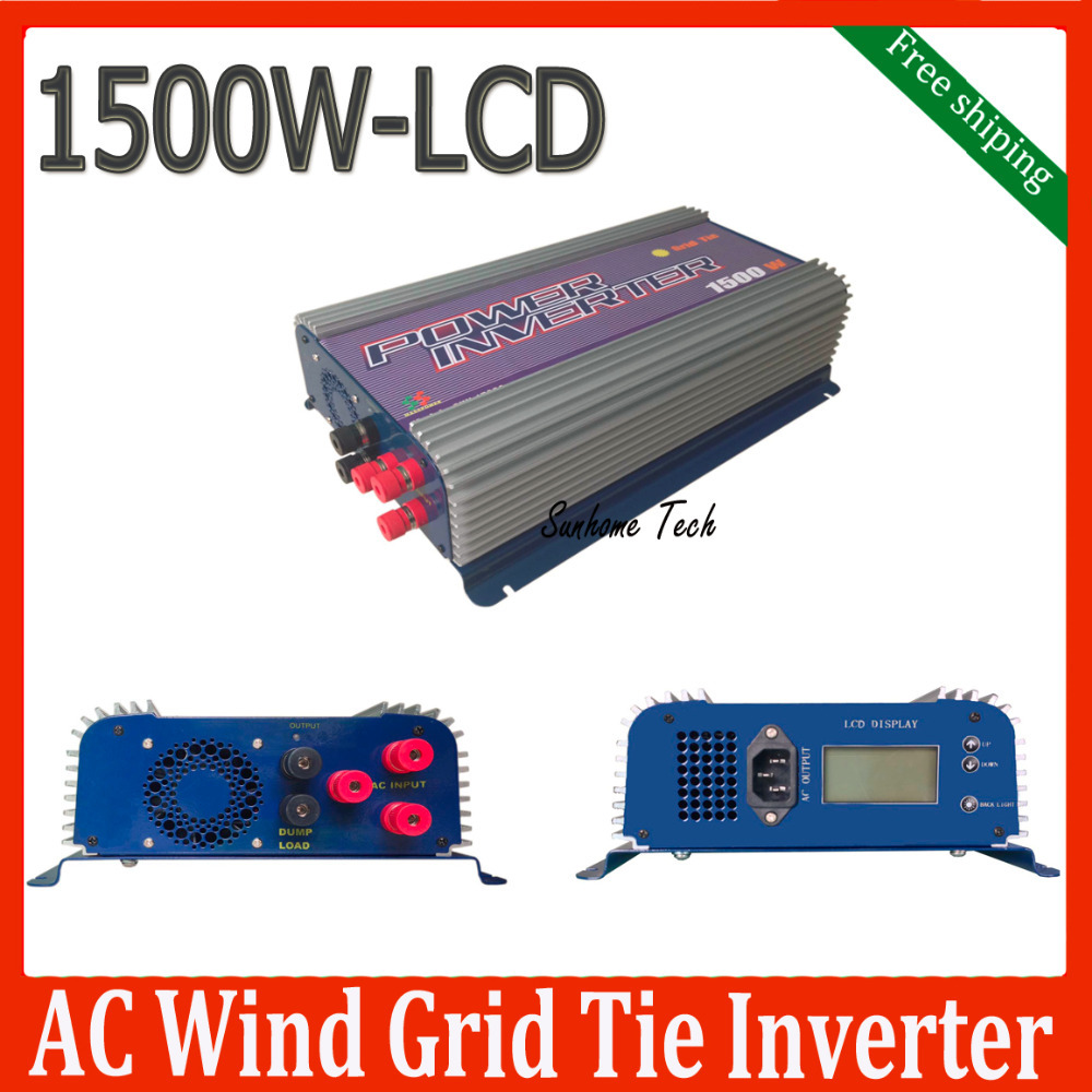 1500W Grid tie wind inverter with dump load for 3phase AC wind turbine,LCD MPPT pure sine wave inverter free shipping(China (Mainland))