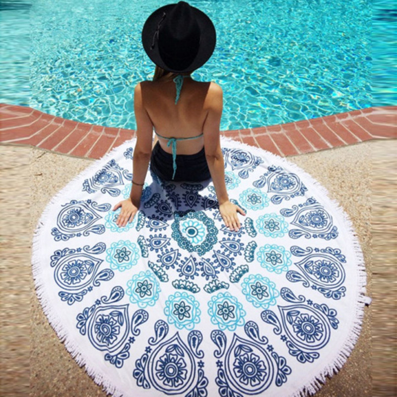 1 PCS Trendy Round Beach Throw Tapestry Hippy Boho Gypsy Cotton Tablecloth Round Yoga Mat #87120