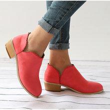 Kadın Martin çizmeler 2019 yeni varış yarım çizmeler kadınlar için Slip-on sığ patik dantel ayakkabı bayanlar kare topuklu artı boyutu 35-43(China)