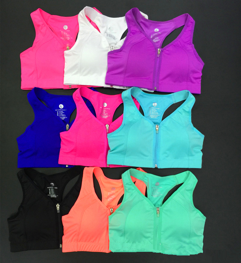 4 level Shockproof Bodybuilding Run training No motion Front Zipper open Quick dry and breathable Sports bra Women running girl(China (Mainland))