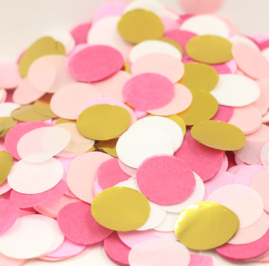 Pink and gold tissue paper circle confetti party for Baby confetti decoration