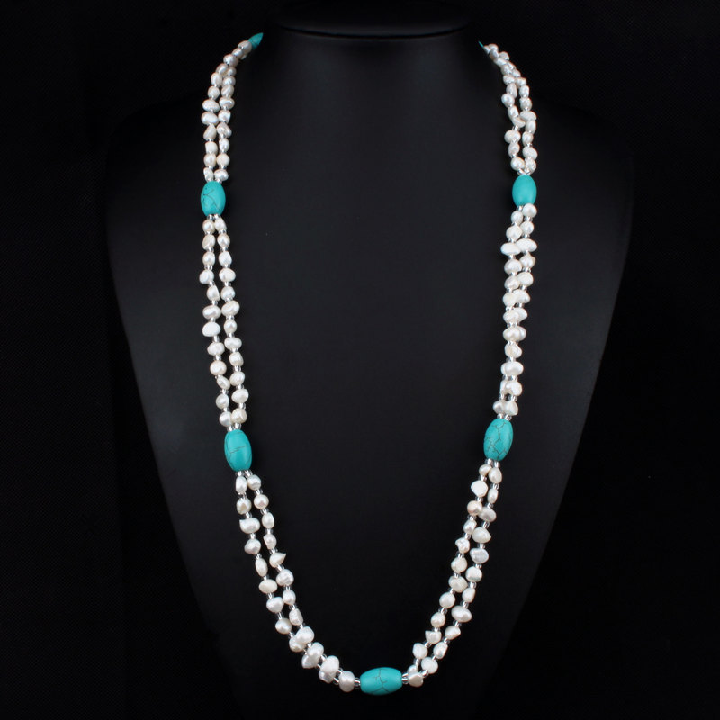 New!!! 100% Real Natural Freshwater Pearl Necklace High Quality Turquoise Necklace Fashion Long Pearl Necklace For Women XLL267(China (Mainland))