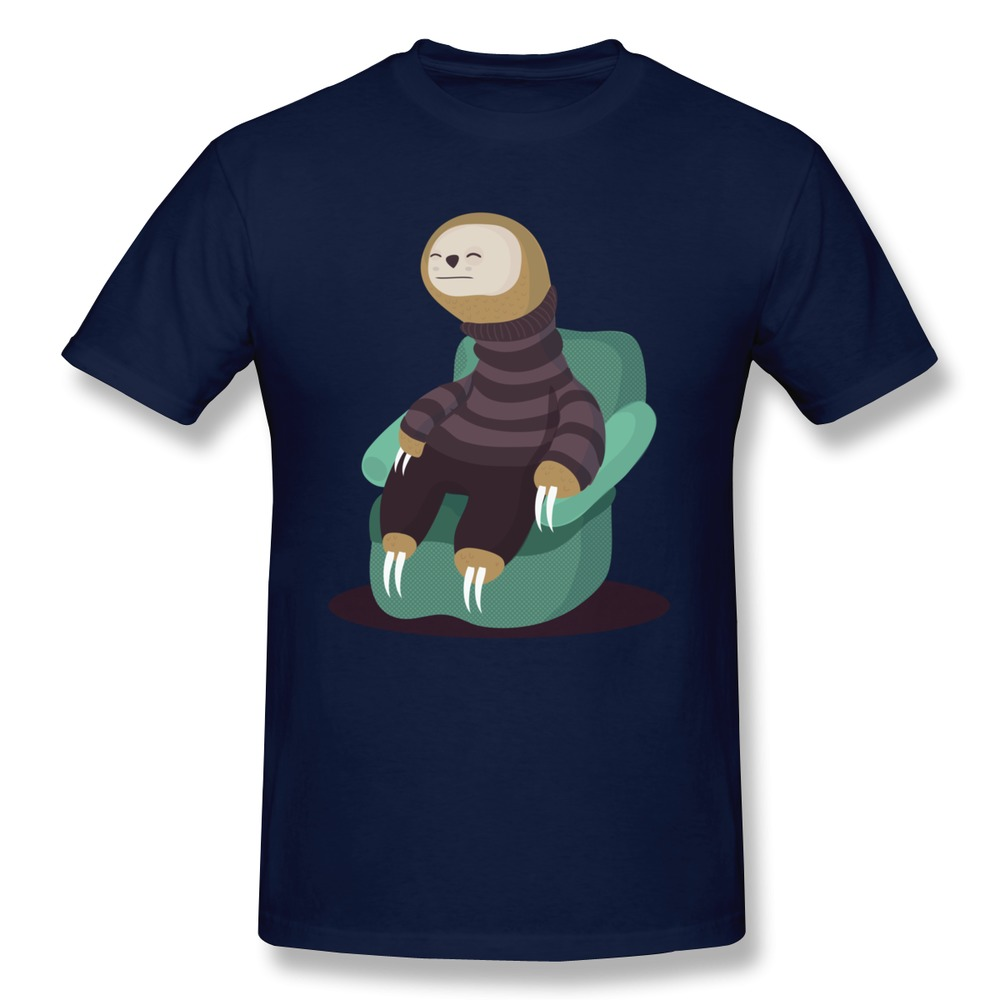 Round Neck Men T Shirt Sloth With Sloth Custom Geek
