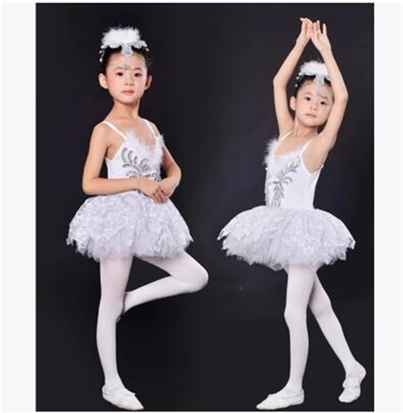 New Girls White Swan Lake Ballet Costumes Kids Sequin Feather Ballet Dress for Children(China (Mainland))