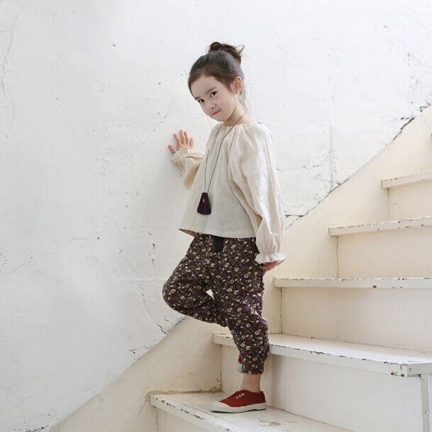 New winter 2015 Korean girls cotton corduroy trousers printing pants<br><br>Aliexpress