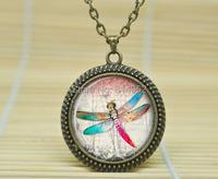1шт кружева стрекоза ожерелье стрекоза Кулон стрекоза Бижутерия Стеклянный кабошон ожерелье a1248