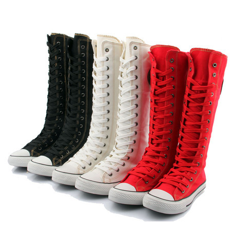 Women Girl Punk EMO Rock Gothic zip Lace up Canvas boot shoe sneaker knee high(China (Mainland))